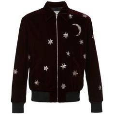 Saint Laurent Star and Moon Embellished Bomber Jacket (29,790 ILS) ❤ liked on Polyvore featuring men's fashion, men's clothing, men's outerwear, men's jackets, red, mens sequin jacket, g star mens jacket and mens red jacket