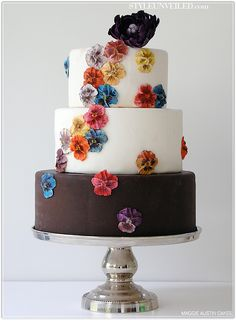 #Pansy covered wedding #cake