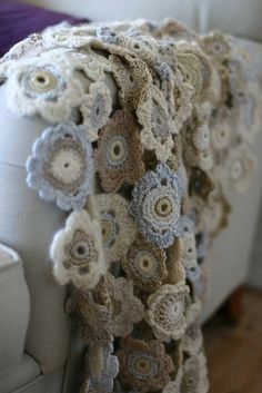Crochet blanket by Alice * ...I don't know any girlbabies right now, but what a gorgeous scarf this would make!
