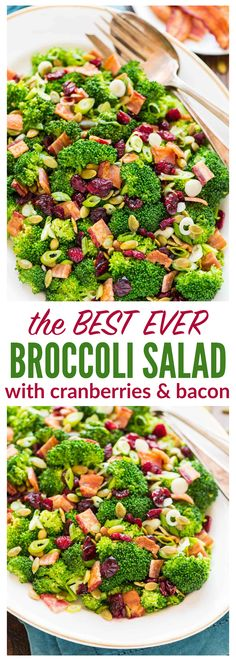 Broccoli Salad with Bacon and Cranberries. This recipe is THE BEST. Stays crunchy for hours, easy to make, and disappears everywhere I bring it! Recipe at wellplated.com | @wellplated