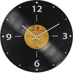 Vinylux, Inc. Record Clock ($38) ❤ liked on Polyvore featuring home, home decor, clocks, clock, backgrounds, decor, vintage, black, music themed clocks and inspirational home decor