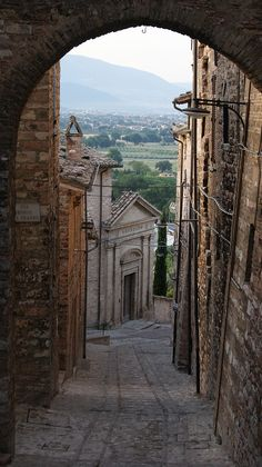 Spello in the province of Perugia in Umbria, Italy. Via Porta Prato