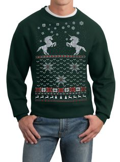 ugly Christmas Unicorn sweater---- pullover sweatshirt -- s m l xl xxl xxxl from SKIP N' WHISTLE. Saved to Epic Wishlist. Mens Ugly Christmas Sweater, Ugly Sweater Party, Holiday Sweaters, Christmas Jumpers, Sweat Shirt, Wetter Im Winter, Sweater Fashion, Men Sweater, Ponchos