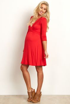 Red Wrap V-Neckline 3/4 Sleeve Maternity/Nursing Dress