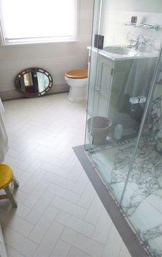 White Herringbone Cork Flooring from Globus Cork.  JR Design - UK