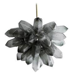 Illuminated Crystal Cluster Sculpture in Gray Hand-Blown Glass | From a unique collection of antique and modern chandeliers and pendants at https://www.1stdibs.com/furniture/lighting/chandeliers-pendant-lights/