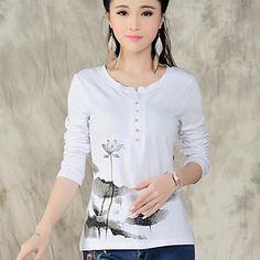 SHANGFEI™ Embroidery Button Shirt - USD $ 18.59