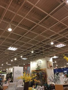 Suspended Ceiling Grid that integrates hanging display, security cameras, lighting, and electrical at Pier 1 Imports Manhattan, KS