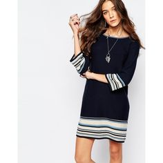 Esprit Jersey Stripe Dress ($67) ❤ liked on Polyvore featuring dresses, navy, white striped dress, navy blue dress, white keyhole dress, navy jersey dress and white jersey dress