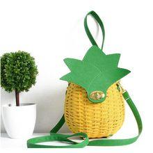 2017 Fashion Girls Fruit Pineapple Shape Messenger Bags Women Hand made Woven Handbag Cute Day Clutch Bag bolso Yellow XA536H(China (Mainland))