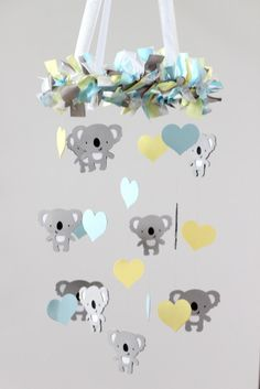 SMALL Koala Bear & Hearts Nursery Mobile in Baby Blue, Yellow, Gray & White    ♥♥♥PLEASE READ BEFORE PURCHASE!!! : All mobiles are HANDMADE TO