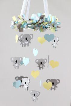 Koala Nursery Mobile Decor in Baby Blue Yellow by LovebugLullabies