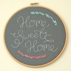 Home Sweet Home Embroidery An easy way to covert drawings or print-outs in to beautiful embroidered art Embroidery Hoop Art, Hand Embroidery Patterns, Cross Stitch Embroidery, Cross Stitch Patterns, Embroidery Designs, Contemporary Embroidery, Cross Stitch Baby, Sewing Appliques, Embroidery For Beginners