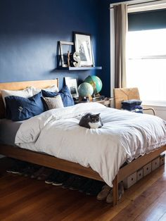 Boston apartment with a blue bedroom