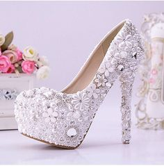 I WANT THESE!!!!! Pearl Jewelery Unique Wedding shoes pearl wedding by WeddingPalace, $229.00