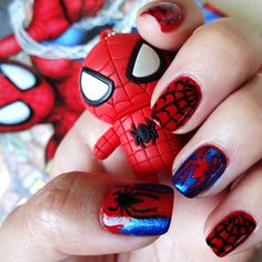 "Spider-Man Nail Art. Used Sinful Colors ""Ruby Ruby"" and Ulta ""Demin Glitz."" #nailart"