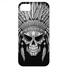 Dark Native Sugar Skull with Headdress iPhone 5 Case cover