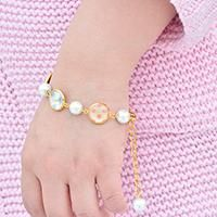 How to Make Beautiful Glass Cabochon Bracelet with Pearl Beads for Girls