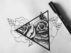 Self made, roses triangle fineliner