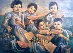 Oil on canvas Anita Eating Watermelon, Philippine Art, Pinoy, Philippines, Illustrators, Oil On Canvas, Contemporary Art, Artist, Painting