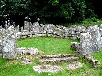The Din Lligwy Ancient Village (aka Din Lligwy Hut Group) on the outskirts of Moelfre close to the north east coast of Anglesey, North Wales. A well preserved example of a settlement during the latter part of the Roman occupation of Wales. But the origins of the settlement may well go back into the iron age and it was probably a small farming community.