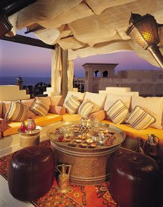 Looks awesome.so going here next time I'm in Dubai! - The Rooftop Lounge at the One & Only Royal Mirage Hotel in Dubai Dubai Hotel, Dubai Uae, Dubai Trip, Outdoor Spaces, Outdoor Living, Outdoor Seating, Outdoor Retreat, Outdoor Lounge, Interior Exterior