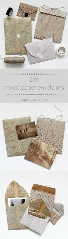 DIY: design and make your own mixed paper envelopes / paperiaarre.com