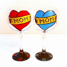 ❤💙  MOM Wine Glass 💙❤ Hand Painted 🎨 These adorable tattoo inspired wine glasses are the perfect gift for hard working moms who need a wine break at the end of a long day.