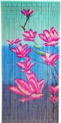 5262 - Bamboo Beaded Door Curtain- Pink and Blue Flowers