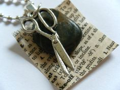 OOAK Steampunk Geekery Rock Paper Scissors Pendant Necklace Recycled Materials Upcycled Vintage Dictionary Charm Childhood Game Geek Jewelry...