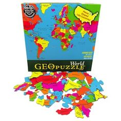 ----Gifts for the Lil Jet Setter----  Geo Puzzle World by GeoToys-    Your kids wont even know theyre honing geography skills as they put together this fun, world map puzzle.  Theyll be a whiz at geography after playing with this and, lets be honest, couldnt we also use a refresher? $13.99