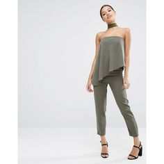 ASOS Bandeau Jumpsuit with Ruffle Overlay ($73) ❤ liked on Polyvore featuring jumpsuits, green, bandeau jumpsuit, asos jumpsuit, jump suit, green jumpsuit and asos