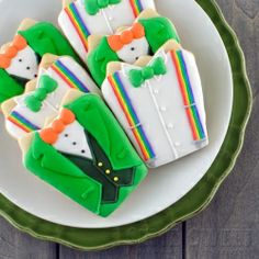 Make two dapper shirt cookie designs for St. Patrick's Day.
