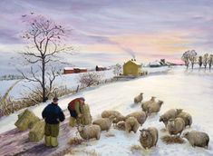 sheep in winterFeeding sheep in winter Find out about kindergarten craft ideas Ethan Harper Grazing Sheep Ii Canvas Art - x - Multi Owen Leather Armchair Painting Snow, Winter Painting, Winter Art, Farm Paintings, Paintings For Sale, Pastel Paintings, Corporate Christmas Cards, Fine Art Amerika, Sheep Art
