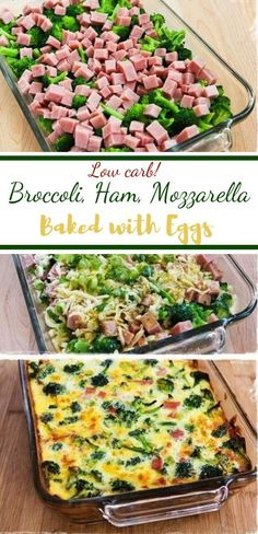 Low-Carb Broccoli, Ham, and Mozzarella Baked with Eggs - Keto Dinner Recipes Healthy Food Recipes, Cooking Recipes, Recipes With Ham, Easy Keto Recipes, Cooking Tips, Healthy Snacks, Chicken Recipes, Leftover Ham Recipes, Diabetic Recipes