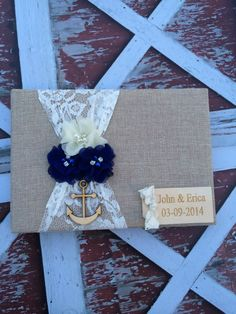 nautical wedding / burlap Wedding Guest book , custom guest book / You PICK…