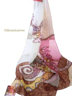 Handpainted scarf Orchids Floral Silk Painting Silk Chiffon
