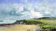 The Coast of Portrieux by Eugene-Louis Boudin - Hand Painted Oil Painting