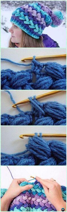 Crochet Braid Puff Stitch Hat Free Pattern and Video Instruction ✿ƬⱤღ https://www.pinterest.com/teretegui/