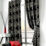 Curtains for living room and bedroom - 24 ideas - Gardinen Modern - Black Eyelet Curtains, Damask Curtains, Floral Curtains, Curtains Living, Cool Curtains, Drapes Curtains, Patterned Curtains, Stripe Curtains, Linen Curtain