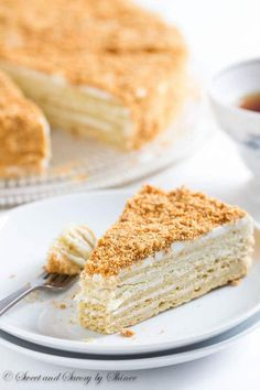 """Buttery, flaky pastry layers generously filled with sweet cream filling...This Russian cake """"Napoleon"""" is the sweetest taste from my childhood."""