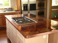 metallic patina kitchens | Copper Island Countertop