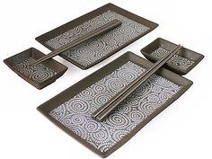 Elegant Sandy Bronze Karakusa Japanese Sushi Plates Set for Two