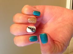 Peacock nail art #feathers