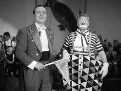 Sirkus Papukaija -tv ohjelma. Tirehtööri ja Onni-klovni, kuva Maunio Kuusla 1962.