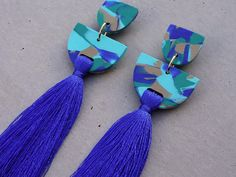 Tassel Earring - Blue Lagoon / Tassel Earrings / Polymer Clay Earrings / Stud Earrings by thesleeplesscreative on Etsy