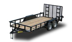 Kaufman's Standard Landscape Utility Trailer 7000 GVWR is built with a heavy duty frame, a dovetail, and a spring assist landscape gate for easy loading. Utility Trailers For Sale, New Trailers, Welding Trailer, Landscaping Equipment, Equipment Trailers, Yard Tools, Trailer Plans, Iron Furniture, Metal Projects
