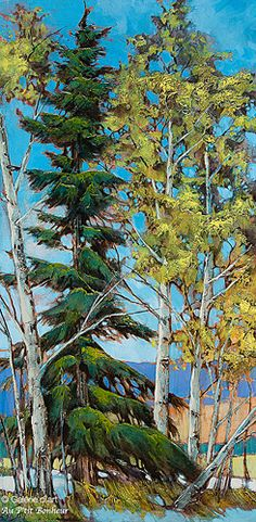 "David Langevin - "" No One Asked You "" Canadian Painters, Canadian Artists, Art Mural En Plein Air, Pine Tree Art, Art Gallery, Outdoor Wall Art, Impressionist Landscape, Plant Painting, Landscape Artwork"