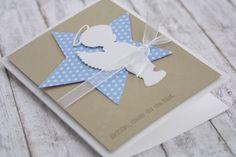 """*Zauberhafte Glückwunschkarte zur Geburt """"Engel""""*  Die Karte wurde aufwändig mit einem Organzaband und einem großen Stern mit vielen kleinen Sternchen verziert. Die Karte wurde per Hand..."""
