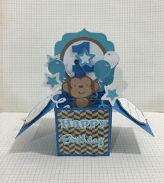 Personalised - Happy 1st Birthday card in a box for a special boy featuring a cheeky monkey.
